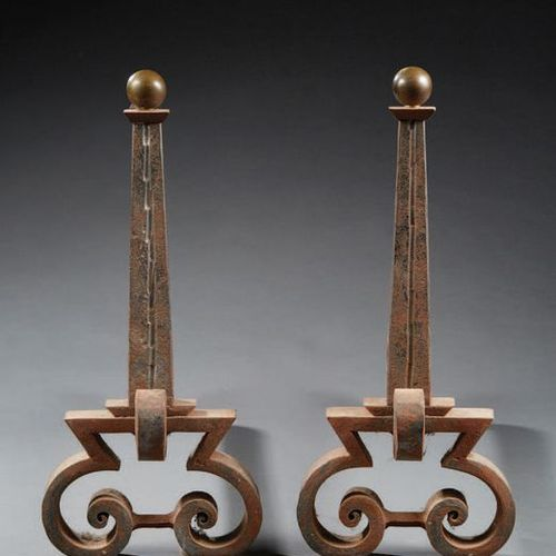 Raymond SUBES, attribué à (1893 1970) Pair of wrought iron hearth andirons with …