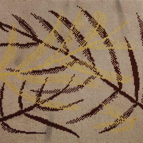 TRAVAIL 1980 Tapis rectangulaire en laine à décor géométrique brun et jaune sur …