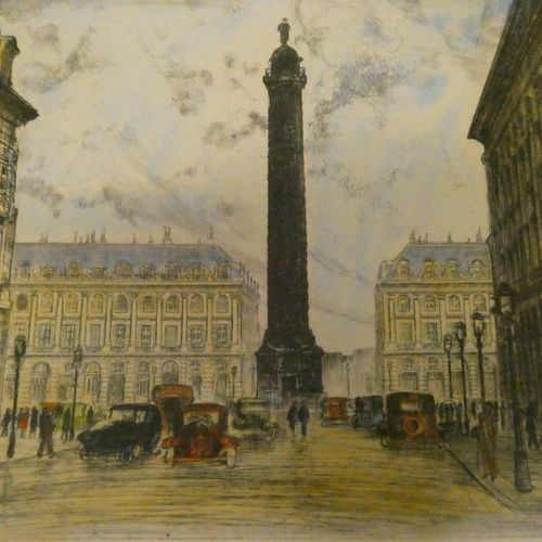 Charlotte MOLLET Paris, Place Vendome Engraving in colors, located at the bottom…