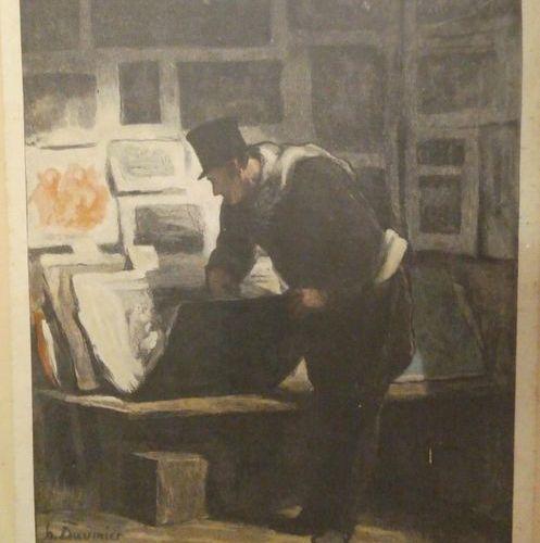 Honoré DAUMIER (1808 1879), d'après Le marchand d'estampes Gravure en couleurs, …