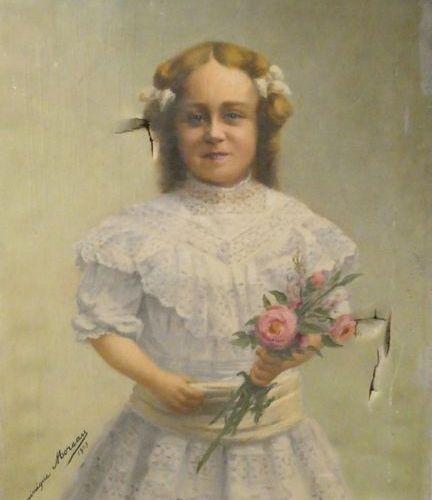 Dominique MOREAU (Xxè siècle) Portrait de fillette au bouquet de fleurs Huille s…