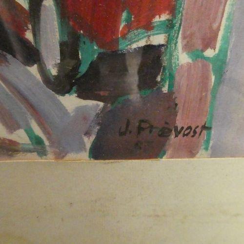 Jean prevost, né en 1934 Scène de rue en alsace Gouache sur papier, signée en ba…