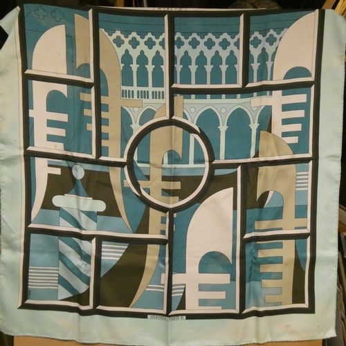 """HERMES  Silk scarf """"Rialto"""".  Stains and discoloration."""