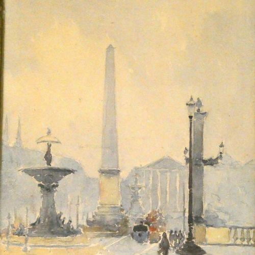 Jean CREUS (né en 1940)  Place de la concorde à Paris  Aquarelle signée en bas à…