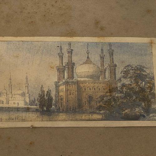 [ORIENTALISME]  Petit sous verre (aquarelle ?) représentant une mosquée  Trace d…