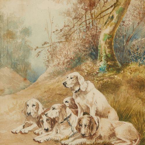 Ecole Française du XIXè siècle Chiens de chasse Aquarelle sur papier, signée en…