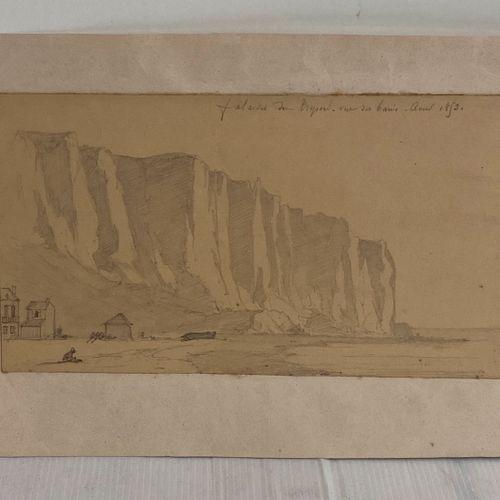 Falaises du Tréport vue des Bains Aout 1853  Dessin au crayon  15,5 x 28 cm