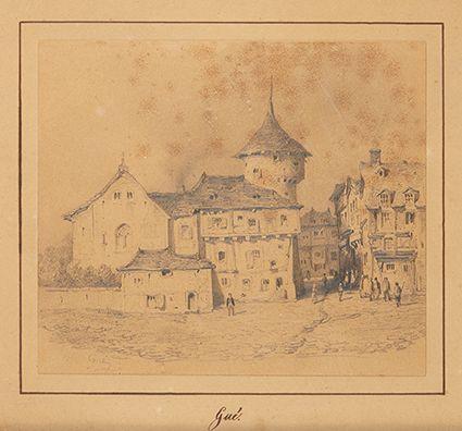 Jean Marie Oscar GUE (1809 1877)  Scène de rue  Mine de plomb sur papier, porte …
