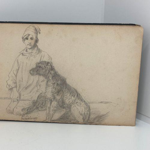 Ecole Française du XIXè siècle  Carnet de dessins d'études au crayon.  Personnag…