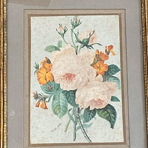 Pauline ALLAIN (XIXè Xxè siècle)  Bouquet de fleurs  Impression en couleurs  Cac…