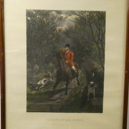 Ecole Anglaise  Lithographie en couleurs représentant un veneur à cheval.  Dim. …