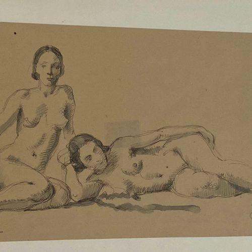 Deux Femmes nues  Dessin signé en bas à gauche (non identifiée) localisé et daté…