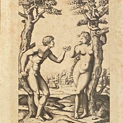 D'après Raphael  Adam et Eve  Héliogravure en noir. E. Baldus.  Dim du sujet : 2…