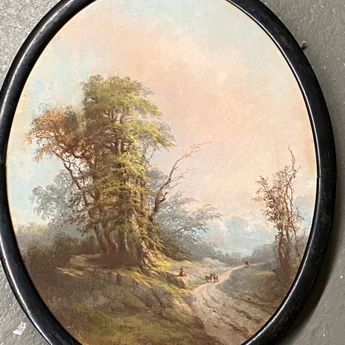 Ecole française du XIXè siècle  Scène pastorale  Pastel à vue ovale daté en bas …