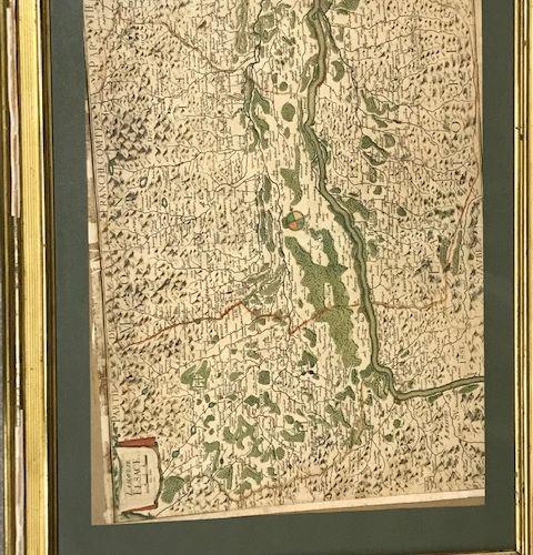 Carte Franche Comté réhaussée dans le gout du XVIIIe siècle.  Dim. À vue : 41,5 …