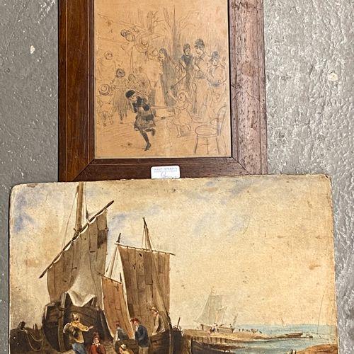 Ensemble de deux pièces comprenant :  Ecole Française vers 1900  Scène de rue  C…