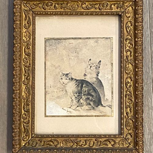 Marie GONTIER (Xxè siècle)  Chats  Gravure en noir, signée en bas à gauche  Dim.…