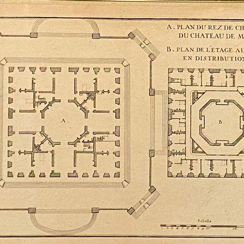 Ensemble de sept gravures représentant des plans et des vues du château de Marly…