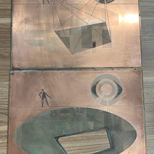 Deux plaques en cuivre de gravure.  26,5 x 33,5 cm