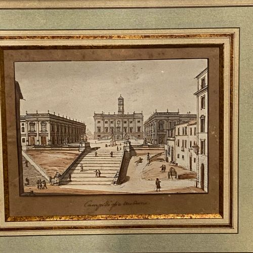 Ecole Italienne du XIX siècle  Vue d'achitecture  Lavis d'encre.  Dim : 12,5x18c…