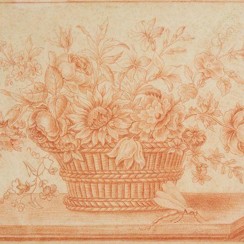 Ecole FRANCAISE du XIXème siècle  Panier de fleurs  Sanguine  22 x 32 cm