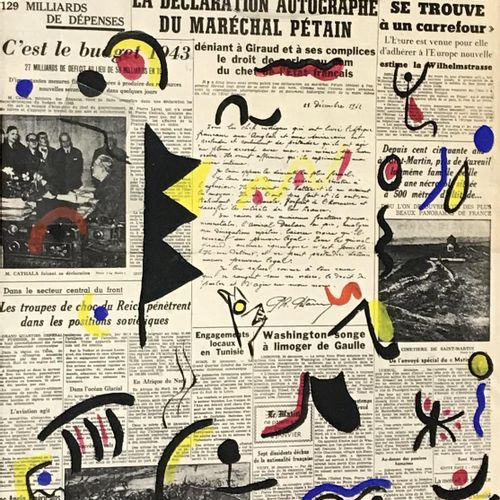 Page de journal imprimé avec réhauts de gouache.Porte un monogramme M en bas à d…