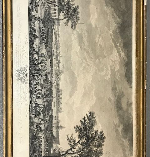 Suite de trois gravures comprenant deux gravures en noir le port de Toulon et un…