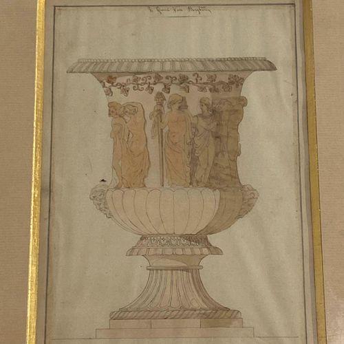"""ARCHITECTURE  """"Le grand Vase Borghèse""""  Aquarelle signature en bas à droite (non…"""