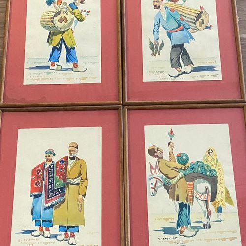 """E SVACHIAN  """" Types de Marchands Ambulants à Téhéran  Suite de quatres aquarelle…"""