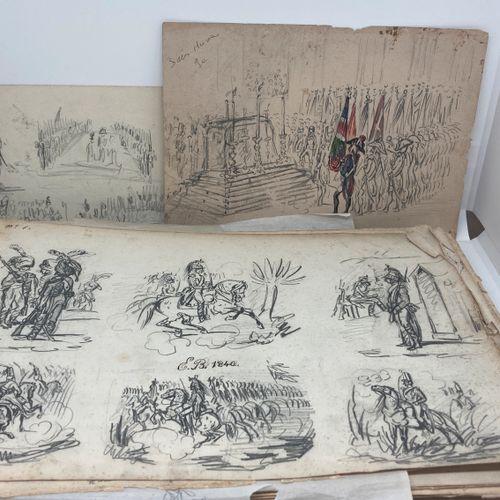 Ensemble de dessins reunis dans un carnet, sujets militaire, monogrammés E B, da…