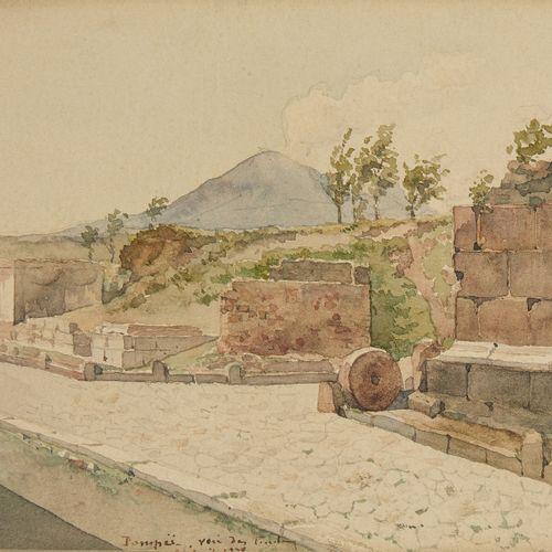 Ecole Italienne du XIXè siècle  Vue de Pompéi  Aquarelle sur papier, située en b…