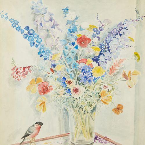 ÉCOLE FRANÇAISE DU XXE SIÈCLE  Aquarelle représentant un bouquet de fleurs. …