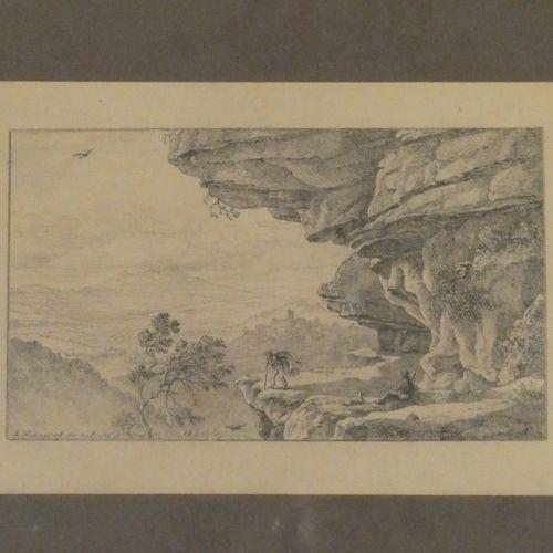 Ecole du xixè siècle  Deux chasseurs au bord d'une falaise  Gravure en noir, dat…