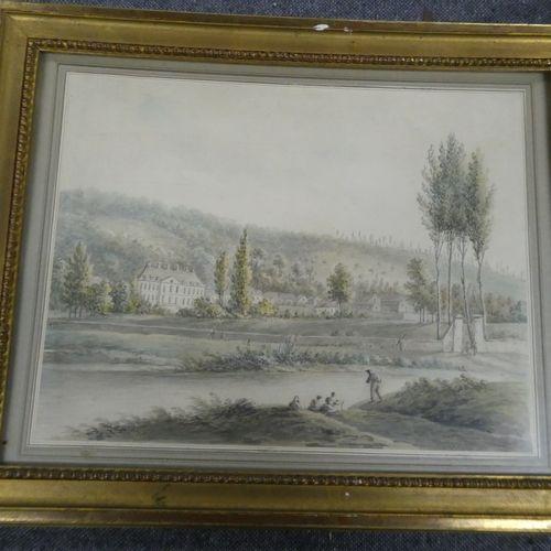 Louis Philippe CRÉPIN (1772 1851)  Personnage en bord de rivière, au loin un châ…