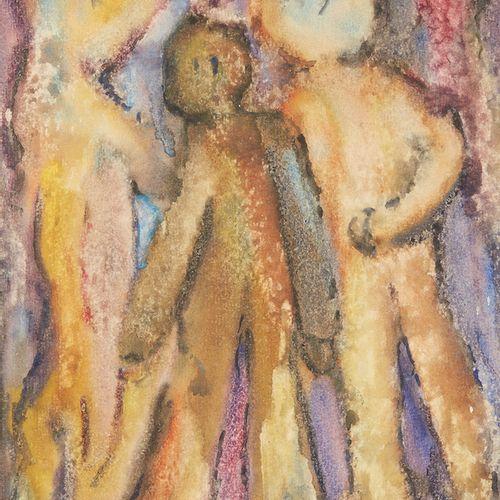 RENÉ ROUX (1891 1952)  Trois personnages  Aquarelle signée en bas à droite.  …