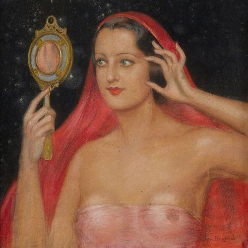 Gustave BRISGAND (1867 1944) Femme au miroir Pastel. Signé en bas à droite. Dim.…