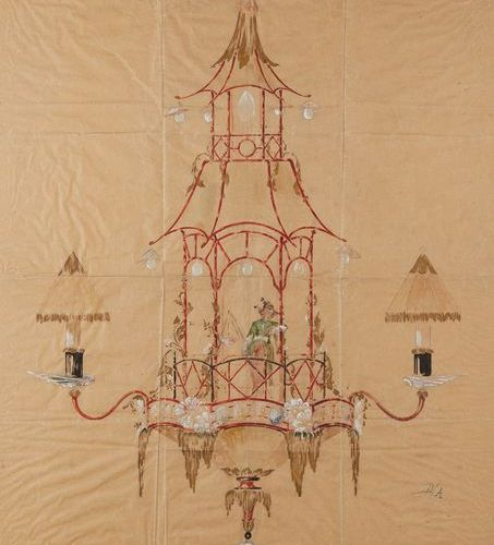 Ecole Française vers 1900 Technique mixte sur papier figurant un projet de lustr…