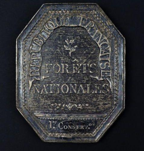 Plaque de garde chasse.  REPUBLIQUE FRANCAISE FORETS NATIONALES.  Octogonale en …