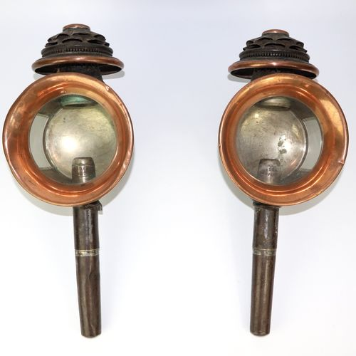Pair of copper and iron carriage lanterns, bevelled glasses.  Marked from HEBERT…