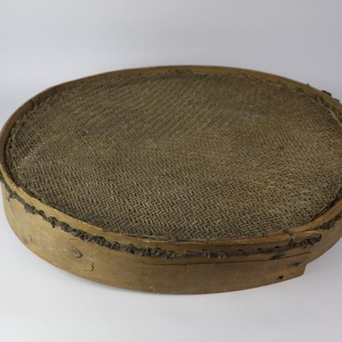 Cheese sieve made of softwood and braided casings.  Folk art work from the end o…