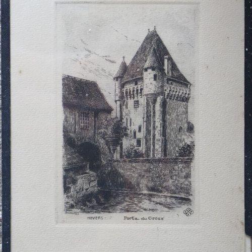 BOURGEOIS.  Suite de trois gravures figurant Nevers, la Tour St Eloi, l'Eglise d…