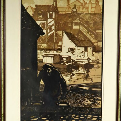 Fernand CHALANDRE (1879 1924).  Nevers, la poissonnerie.  Gravure sur bois signé…