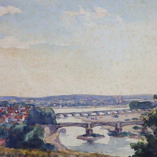 Auguste BERTHAULT (1862 1942).  Vue de Nevers depuis les hauteurs de Marzy.  Aqu…