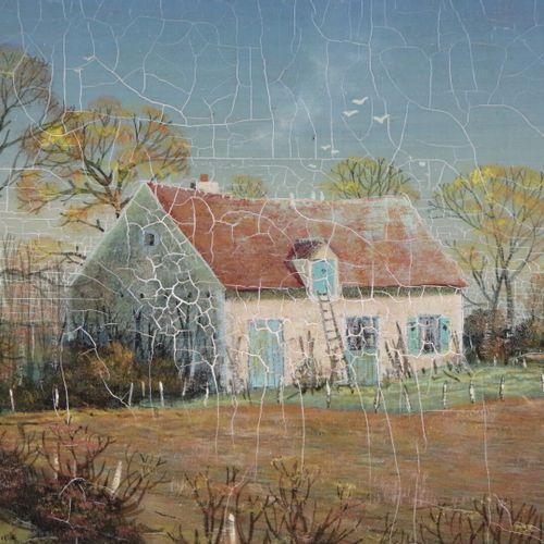 Michel BESZIE (né en 1940).  Maison en nivernais.  Tempera sur panneau, signée e…