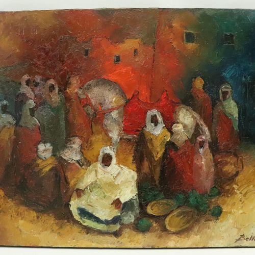 Pierre BELLON (1930 2009).  Rassemblement.  Huile sur toile.  Signée en bas à dr…