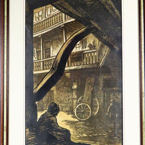 Fernand CHALANDRE (1879 1924).  Hôtellerie du Grand Monarque à Nevers.  Gravure …