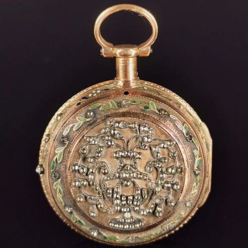 Montre de poche en or jaune emaillé, sertie de pierres du Rhin formant vase fleu…