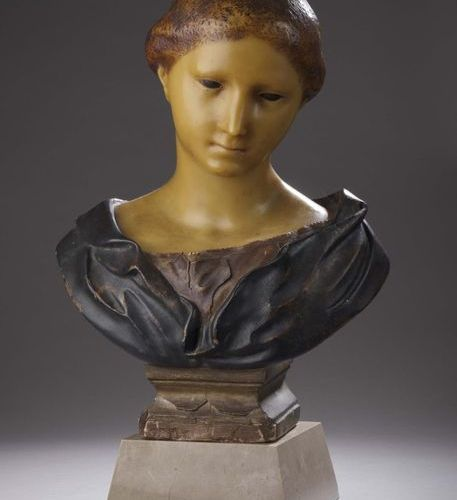 E. ARBOGAST Female bust Head in polychrome wax on terracotta base. H. 45 cm It r…