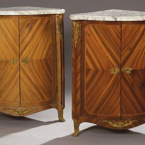 PAIR OF ENCLOSURES in satin and amaranth veneer with rosewood frames and fillets…