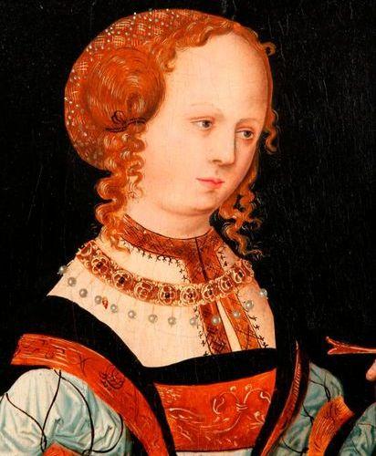 Lucas CRANACH (1474 1553), Atelier de. Saintye Catherine. Elle est représentée à…